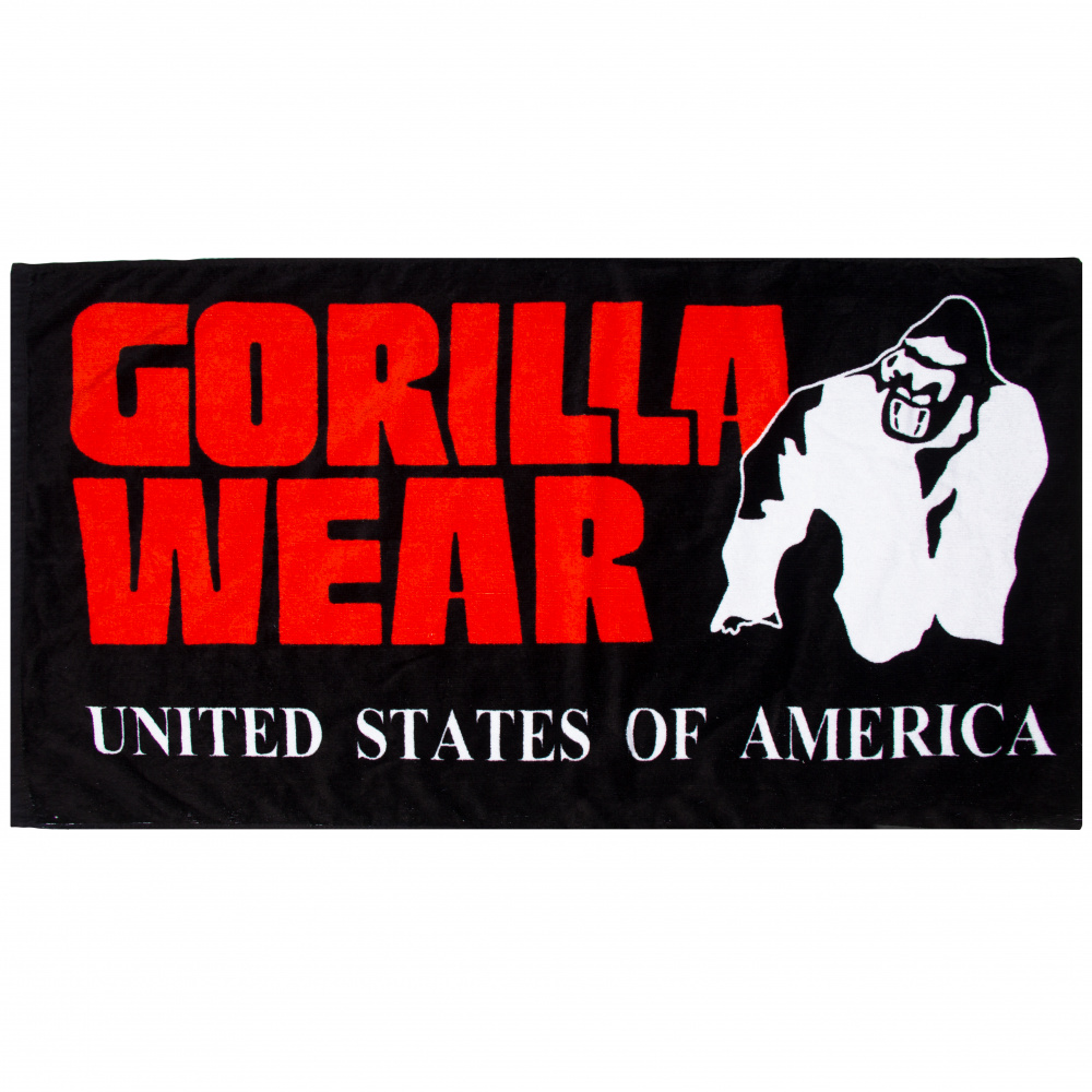 Classic Gym Towel BlackRed Gorilla Wear Norge | Størst