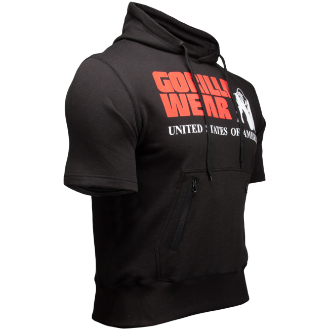 bc2e6ee6 Boston Short Sleeve Hoodie - Black // Gorilla Wear Norge - Gorilla ...